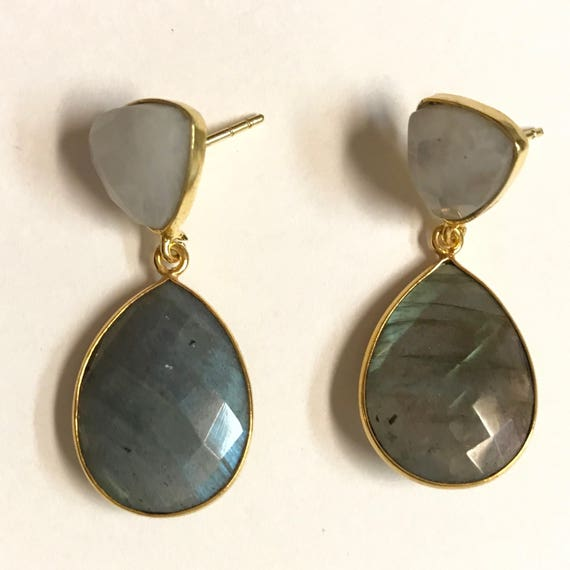 """Labradorite and Moonstone Earrings, 22K Gold Plated, 1.25"""",Long"""