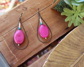 Pink stone bronze teardrop earring