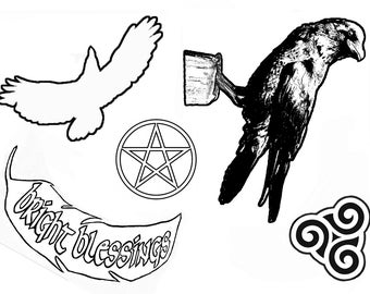 Pagan/ Wiccan polymer raven/crow five stamp set. Free postage