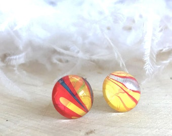 Carnival Colored Marbled Glass Stud Round Earrings