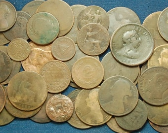 1 Pound of Old Copper Coins - Some dates still readable back to 1800's - Often Used to Make Jewelry