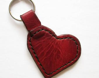 Genuine Leather Handcrafted Heart Keychain
