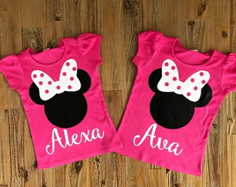 Minnie Mouse Girls Shirt, Minnie Ears Shirt, Personalized Minnie Shirt, Disney Shirt, Disney World - Disneyland, Minnie Name Shirt