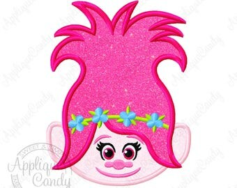 Trolls Poppy Applique Machine Embroidery Design Digital File 4x4 5x5 6x6 5x7 8x8 6x10 Princess logo branch troll INSTANT DOWNLOAD