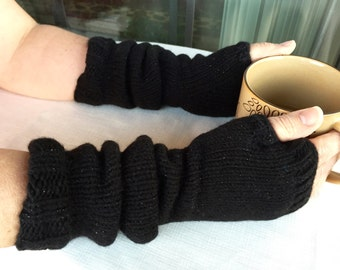 Longer Fingerless Gloves. Black with Glitter, Mittens