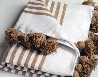 Pom Pom Blanket - White and Camel Stripes