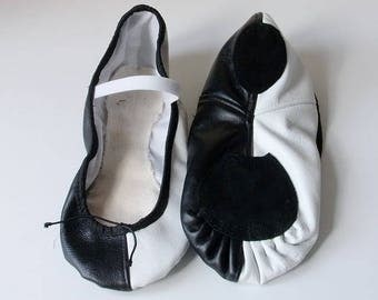 Ballet slippers  leather white/black,  low cut