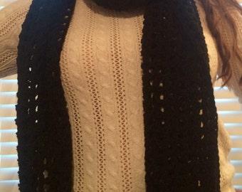 Black Mesh Crochet Scarf/Wrap