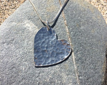 Silver and Pewter Heart Necklace, Heart Necklace, Heart Jewellery, Heart, Heart Pendant, Love Necklace,