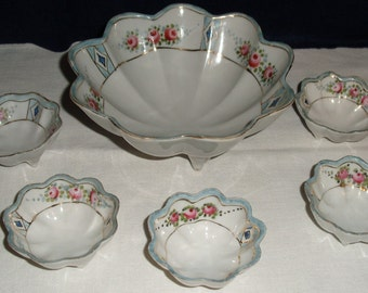 RESERVED...SALE...Nippon Footed Nut Bowl.  Six Piece Set.