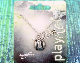 Customizable Softball Silvertoned Pitcher Necklace - Personalize with Jersey Number, Heart Charm, or Letter Charm! Great Softball Gift!
