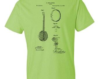 Banjo T-Shirt Patent Art Gift, Banjo Shirt, Banjo Patent, Banjo Player Gift, Banjoist Gift, Musician Gift, Banjo Teacher Gift