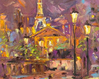 Lights Paris, Eiffel tower, Paris, Night, Fire, Bright painting, Palette knife, Bright art, Original painting, Decor home, Fine Art, Gift