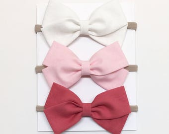 Nylon Headband Bow - Pink, White - Nylon Headband - Clips or headbands