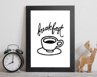 PRINTABLE Art Breakfast Typography Art Print Kitchen Decor Kitchen Wall Art Arrow Art Print Breakfast Art Print Kitchen Art print