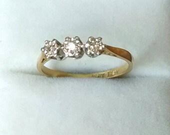 REDUCED Antique 18ct Ring, Platinum, Diamond Trilogy, Size 5.5 - L