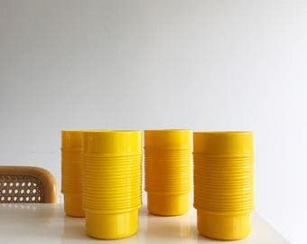 Set of Four Yellow Rubbermaid Tumblers