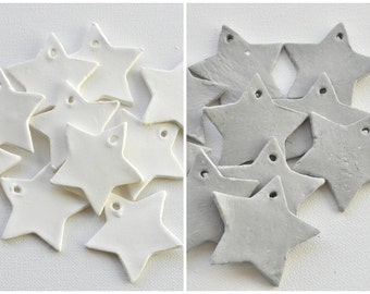 Star-shaped gift tags, white or grey, set of 10, handmade stars, white star gift tags, grey star gift tag, white clay tags, diy star garland