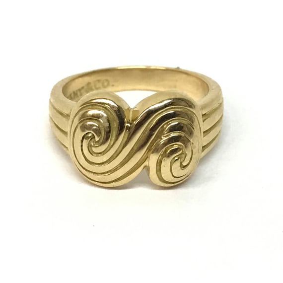 VINTAGE -1993- Tiffany & Co. 18K Solid Yellow Gold Spiro-Swirl Ring - Size 6 - Resizable!
