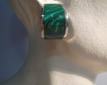 Large hoop earrings in 925 silver rhodium plated and malachite
