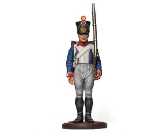 Tin Soldier - French Fusilier Napoleonic Wars Painted Collectible Soldier 54 mm Historical Miniature War Miniature Pewter Miniature Soldier