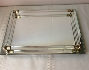 Rectangular lucite tray, vanity mirror, gold accents, vintage
