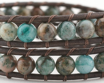Leather wrap bracelet,  beaded bracelet, wrap bracelet, beaded wrap bracelet, Crazy Lace Agate, double wrap bracelet, women's bracelet, boho