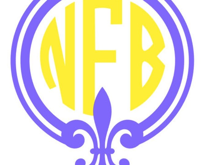 Fleur de Lis/Mardi Gras 3-Letter Monogram 2-color decals for Yetis, mugs, car, school supplies, etc. sticker