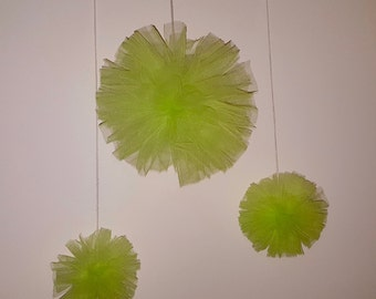 Lime Green Tulle Poms