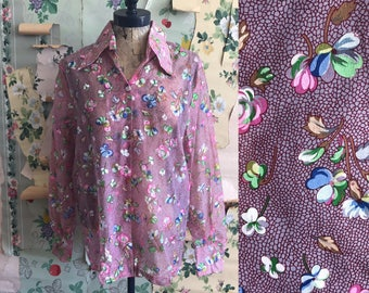 Vintage 1960s/1970s Sheer Floral Burgundy Blouse. Medium/Large. Button up, oversized collar, made in cali by George .