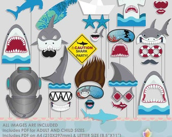 Shark Diving Surfing Summer Photo Booth Props for Shark Party