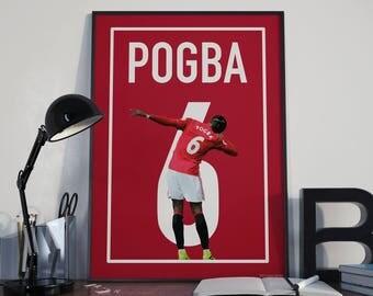 Paul Pogba Football Poster, Manchester United, Instant Download, Wall Art, Sport Poster, Fan Art, Vector Art, Soccer