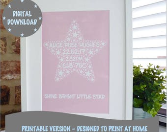 Personalised Printable New Baby Print, Print your own Star Baby Print, Printable Word Art Print, *DIGITAL DOWNLOAD ONLY*