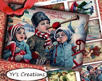 VINTAGE CHRISTMAS CARDS - Vintage postcards - Vintage Gift Tags - Digital Collage Sheet - Printable Gift Tags