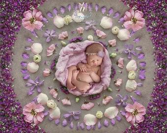 Newborn Digital Backdrop/ Prop / Photography /  Fresh flowers Mandala (Graciela)