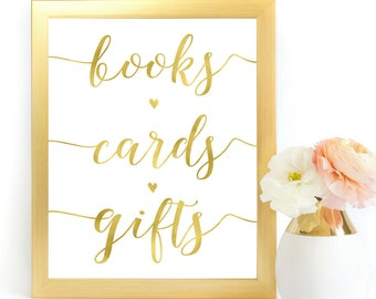 Gold Books Cards Gifts Sign | Printable Instant Download Wedding Ceremony Reception Sign Gold Foil Calligraphy| Baby Shower Bridal | WS1