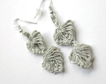 Silver Drop Earrings, Henna Filigree Jewelry, Funky Thread Earrings, Wedding Earrings, Boho Jewelry, Snowflake Silver Earrings, Made in NC