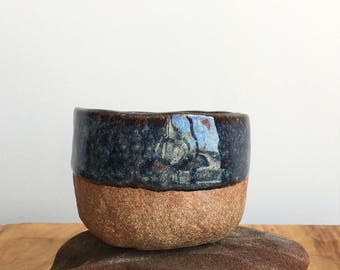hand built ceramic cup / organic / partly glazed / food save / stoneware