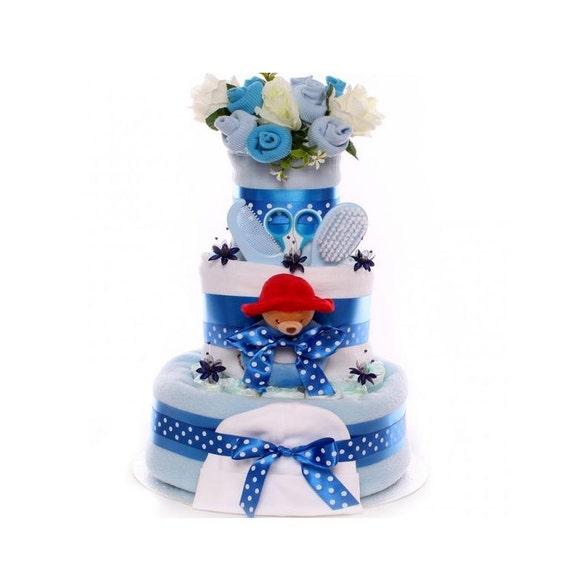 Nappy Cake Baby Boy With Paddington Ring Rattle, 3 tier nappy cake gift
