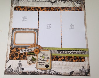 Halloween Two Page Scrapbook Layout, Premade, 12 x 12