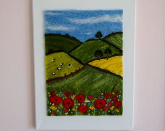 Felted landscape, Needle-felted picture, wildflower canvas, felted Poppies, Wool painting, fibre art, Devon countryside picture, lounge art