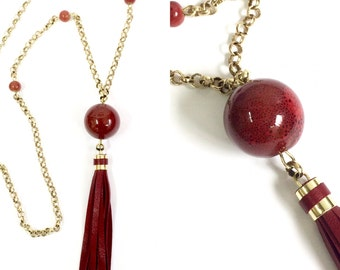 Red Leather Tassel and Ceramic Bead Necklace