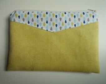pouch or package suede green aniseed, cotton printed white drops anise, sky, Navy, grey.