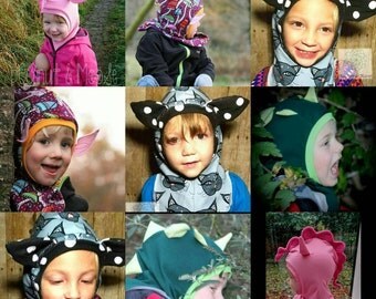 Child Coif hood,with bonus Knight,shark,animal ear add ons,MotherGrimm PDF pattern & tutorial, warm hat pattern,ages 0-15,Instant download