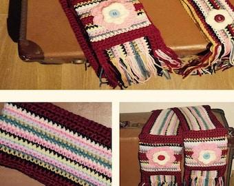 Girls scarf/ multicoloured crochet scarf