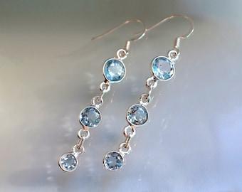 Blue Topaz long earrings, Bridesmaids gift, birthday gift coworker jewelry, Blue gift wife, blue jewelry mom, November Birthstone gemstone