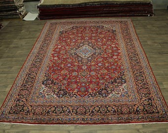 Gorgeous Traditional Semi Antique Kashan Persian Rug Oriental Area Carpet 10X13