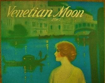Sheet Music Venetian Moon Sheet Antique Vintage Manning Cover