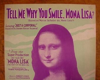 Sheet Music Tell Me Why You Smile Mona Lisa Movie Music Sheet Antique Vintage