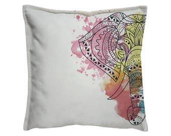 Elephant pillow cover, Sofa pillow case, Throw Pillow cushion, Decorative Pillow cover, Joga pillow, elephant cushion, Watercolor print
